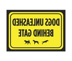 Dogs Unleashed Behind Gate Print Bright Yellow Black Poster