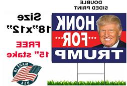 """DONALD TRUMP 2020 YARD SIGN 18""""x12"""" FREE STAKE TWO SIDED HON"""