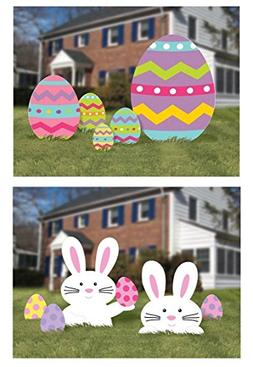 Easter Egg Hunt or Yard Sign Decorations - Large 10 Piece Se