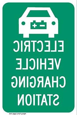 Electric Vehicle Charging Station Sign, Funny Yard Decorativ