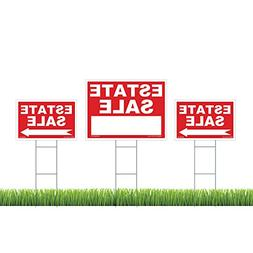 3-Pack Estate Sale Sign Kit - Double Sided Signs & With H-St