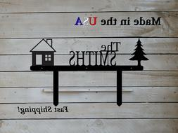 family name sign on yard stakes outdoor
