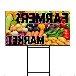 Farmers Market Corrugated Plastic Yard Sign /FREE Stakes 18