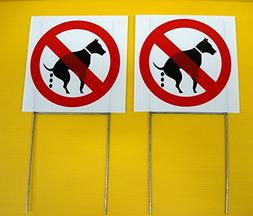 2 Pcs Fiduciary Unique No Dog Poop Warning Signs Decal Grass