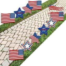 Flag and Star Lawn Decor - Outdoor 4th Of July Party Yard De