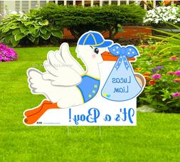 It's a Boy Lawn Stork Sign - Welcome New Baby Birth Outdoor