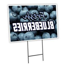 "FRESH BLUEBERRIES 12""x16"" Yard Sign & Stake outdoor plastic"