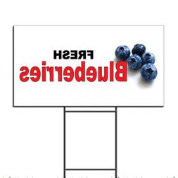 Fresh Blueberries Black Red Corrugated Plastic Yard Sign /Fr