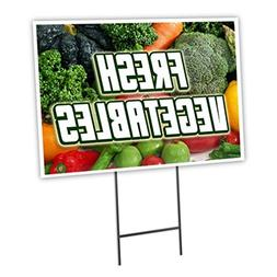 "FRESH VEGETABLES 18""x24"" Yard Sign & Stake outdoor plastic c"