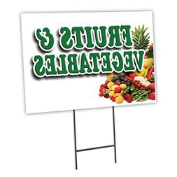 "FRUITS & VEGETABLES 12""x16"" Yard Sign & Stake outdoor plasti"
