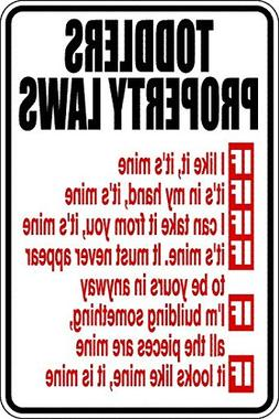 Dom3inic Funny Sign Toddler Property Laws Acrylic Sign 12 x