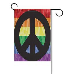 ALAZA Gay Peace Sign On Rainbow Flag Personalized Garden Fla