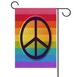 ALAZA Gay Pride Peace Love Sign Double Sided Garden Yard Fla