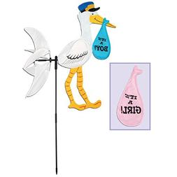 Pack of 6 Gender Reveal Stork Wind-Wheel Baby Shower Yard Si