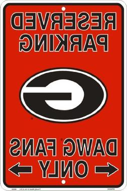 Georgia Bulldogs Fans Reserved Parking Sign Metal 8 x 12 emb
