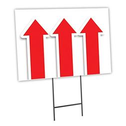 "GIANT UP ARROW 12""x16"" Yard Sign & Stake outdoor plastic cor"