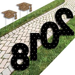Gold Graduation Yard Sign Outdoor Lawn Decorations - Graduat