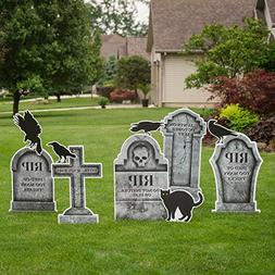 graveyard tombstone yard sign set