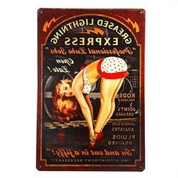 "Yohoba Greased Lightning Pin Up Girl Metal Tin Sign 8"" X 12"""