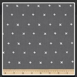 Grey Plus Sign Print Fabric By The Yard
