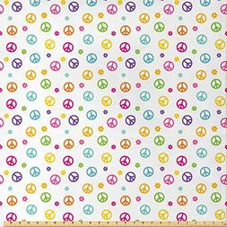Ambesonne Groovy Decorations Fabric by The Yard, Peace Symbo