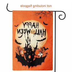 Halloween Garden Flag Pumpkin Welcome <font><b>Sign</b></fon