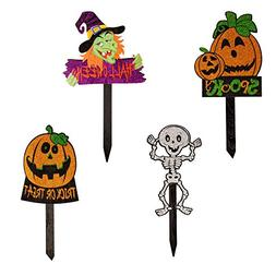 Juvale Halloween Yard Sign Stakes - 4-Pack Happy Halloween O