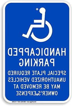 Handicapped Parking. Special Plate Required. Unauthorized ve