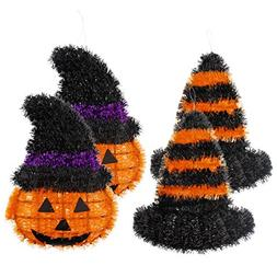 4-Piece Hanging Halloween Decorations - Outdoor, Indoor Hall