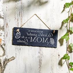 Hanging Slate Sign - World´s greatest Mom is in the Garden