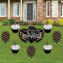 Adult Happy Birthday - Gold - Cupcake & Balloon Yard Sign &