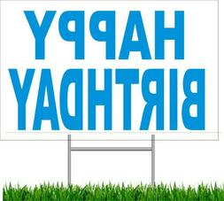"""Happy Birthday Large Outdoor 24""""x18 Land Yard Sign With Wire"""
