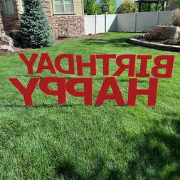 "HAPPY BIRTHDAY Plastic Outdoor 20"" Letters YARD SIGN Staked"