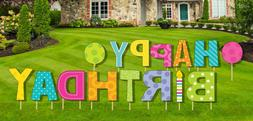 Happy Birthday Yard Sign 15 pcs Stakes Included Outdoor Part