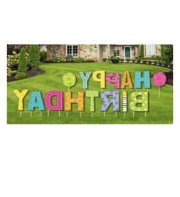 Happy Birthday Yard Sign 15 Pcs Stakes Included, Outdoor Par