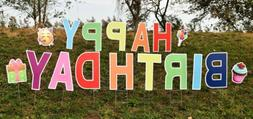 Happy Birthday Yard Sign Lawn Letters and Decorations 17 pcs