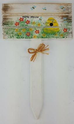 HAPPY EASTER WELCOME SPRING YARD SIGN STAKE YELLOW BEEHIVE