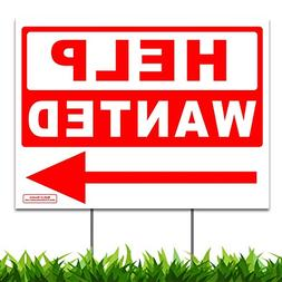 "Large 24"" x 18"" Help Wanted Directional Arrow Yard Sign Lawn"