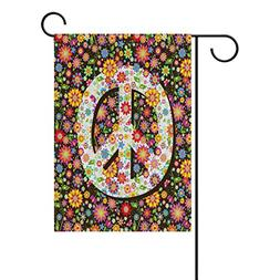 ALAZA Hippie Floral Peace Sign Polyester Garden Flag House B