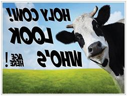 Holy Cow Birthday Yard Sign With Your Custom Age - 18 x 24""