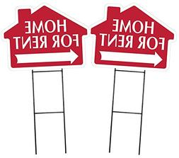 HOME FOR RENT Sign with Arrow - 2 Pack - House Shape Corruga