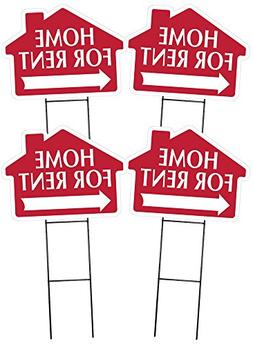 HOME FOR RENT Sign with Arrow - 4 Pack - House Shape Corruga