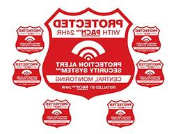 Home Security System Alarm Yard Sign & 6 Alarm STATIC CLING
