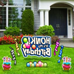 Honk Birthday Yard Signs w/ Stakes Corrugated Plastic Decor
