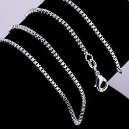 Hot 1PCS wholesale 925Sterling Solid Silver 2MM 16-24 Inches