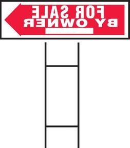 """Hy-ko 10"""" x 24"""" Red and White for Sale By Owner Sign"""