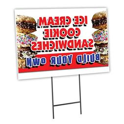 """ICE CREAM COOKIE SANDWICHES BUILD YOUR OWN 12""""x16"""" Yard Sign"""