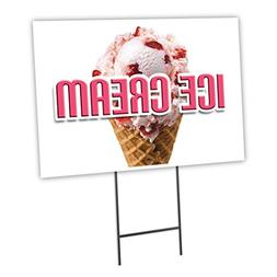 "ICE CREAM 18""x24"" Yard Sign & Stake outdoor plastic coroplas"