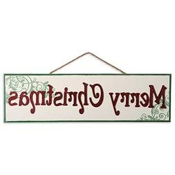 DII Indoor/Outdoor Hanging Merry Christmas Wooden Sign to Ce