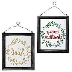 DII Indoor/Outdoor Hanging Noel & Merry Christmas Wooden Sig